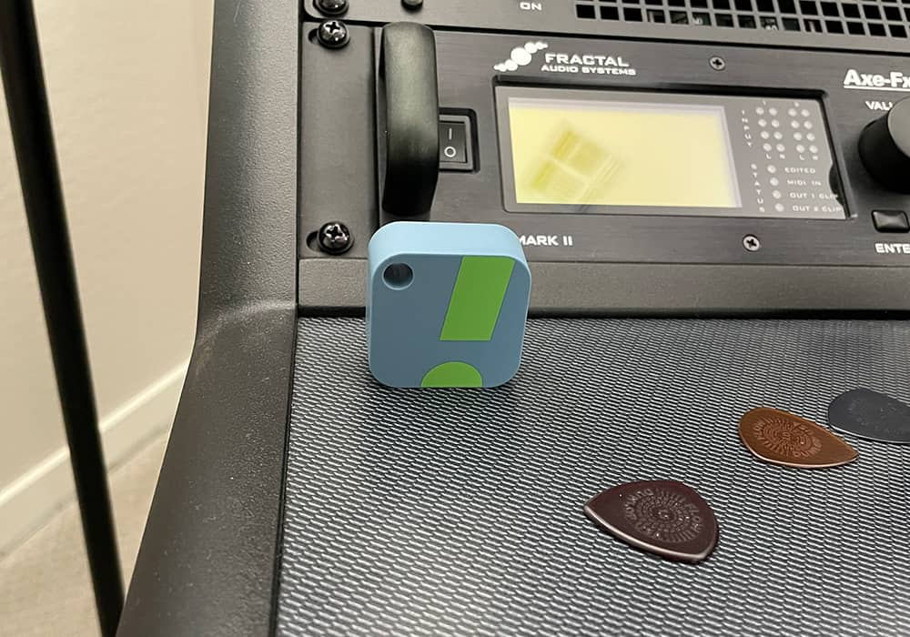 My SensorPush HT1 sensor sitting on my music room desk