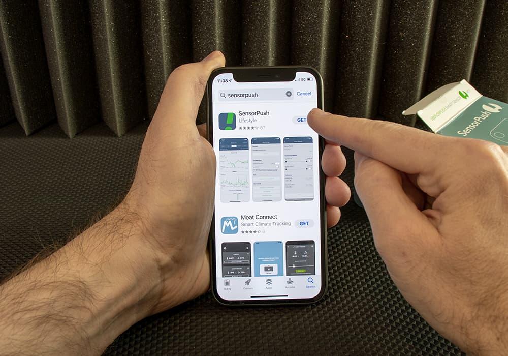 Downloading the free SensorPush iPhone app
